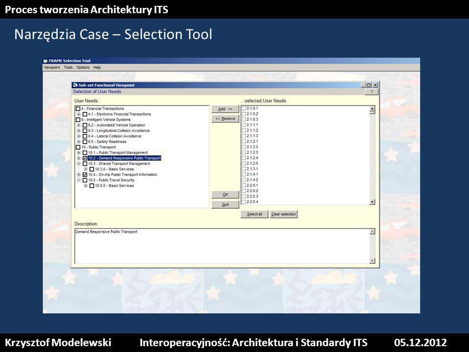 21 Narzędzia Case – Selection Tool Krzysztof ModelewskiInteroperacyjność: Architektura i Standardy ITS05.12.2012 Proces tworzenia Architektury ITS