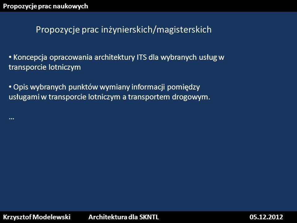 Propozycje prac naukowych Koncepcja opracowania architektury ITS dla wybranych usług w transporcie lotniczym Opis wybranych punktów wymiany informacji
