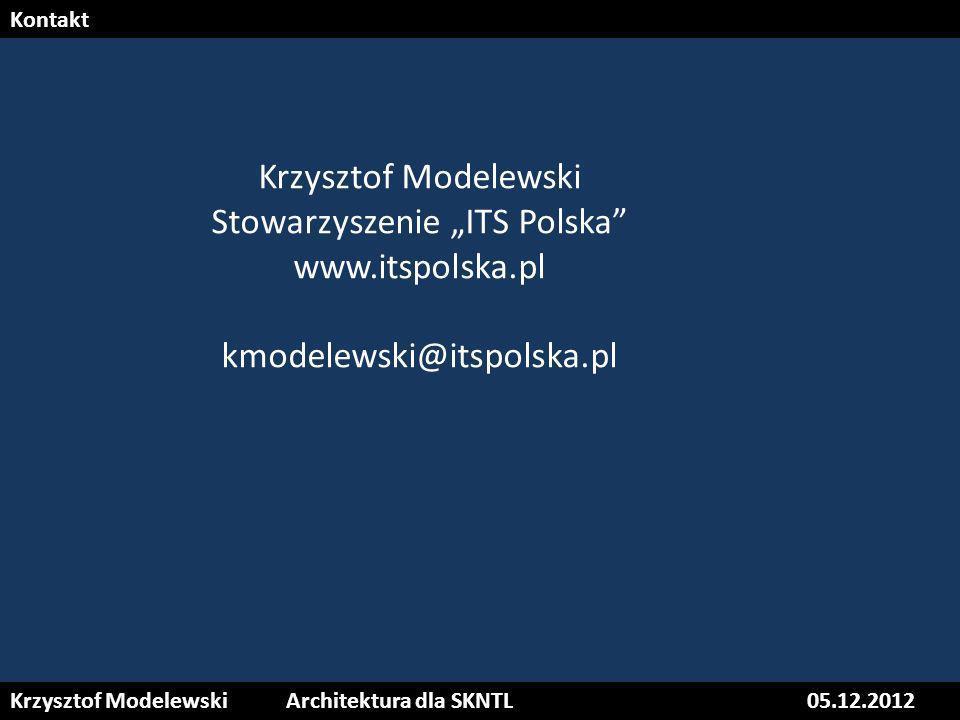 Krzysztof ModelewskiArchitektura dla SKNTL05.12.2012 Kontakt Krzysztof Modelewski Stowarzyszenie ITS Polska www.itspolska.pl kmodelewski@itspolska.pl