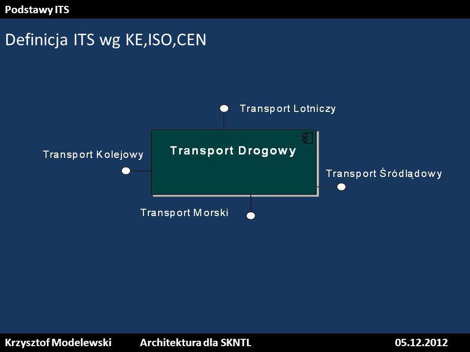 Krzysztof ModelewskiArchitektura dla SKNTL05.12.2012 Podstawy ITS Definicja ITS wg ETSI Zastosowanie systemów ITS nie jest zarezerwowane tylko dla transportu drogowego –wykorzystanie informacji i technologii komunikacyjnych (ICT) odbywa się także w innych gałęziach transportu takich jak transport kolejowy, lotniczy i wodny.