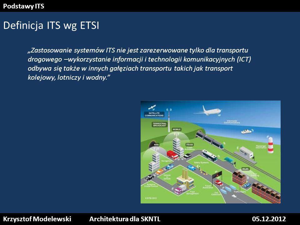 Krzysztof ModelewskiArchitektura dla SKNTL05.12.2012 Podstawy ITS Definicja ITS wg ETSI Zastosowanie systemów ITS nie jest zarezerwowane tylko dla tra