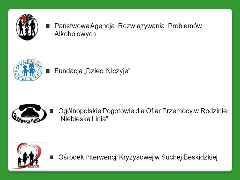 Ogólnopolskie Pogotowie dla Ofiar Przemocy w Rodzinie Niebieska Linia Ośrodek Interwencji Kryzysowej w Suchej Beskidzkiej Państwowa Agencja Rozwiązywa