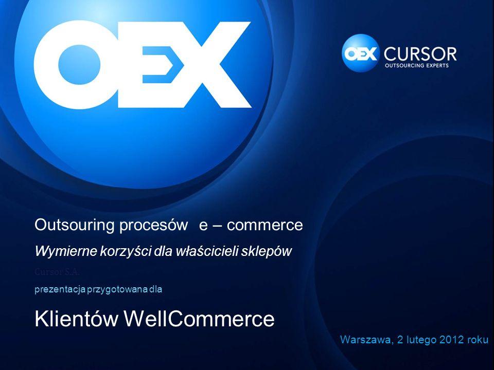 Outsouring procesów e – commerce Wymierne korzyści dla właścicieli sklepów Cursor S.A. prezentacja przygotowana dla Klientów WellCommerce Warszawa, 2