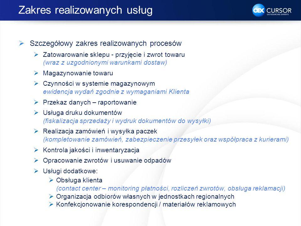 Zakres realizowanych usług Szczegółowy zakres realizowanych procesów Zatowarowanie sklepu - przyjęcie i zwrot towaru (wraz z uzgodnionymi warunkami do