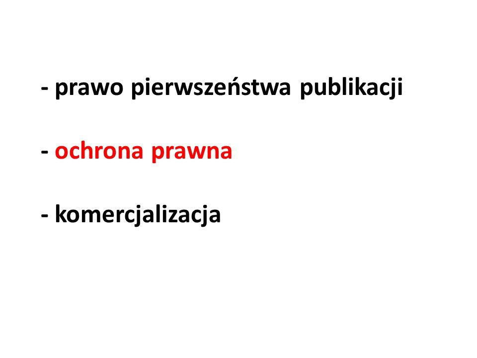 - prawo pierwszeństwa publikacji - ochrona prawna - komercjalizacja