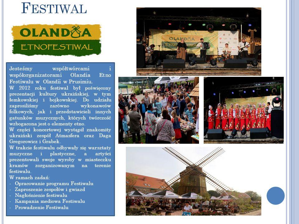 F ESTIWAL Jesteśmy współtwórcami i współorganizatorami Olandia Etno Festiwalu w Olandii w Prusimiu.