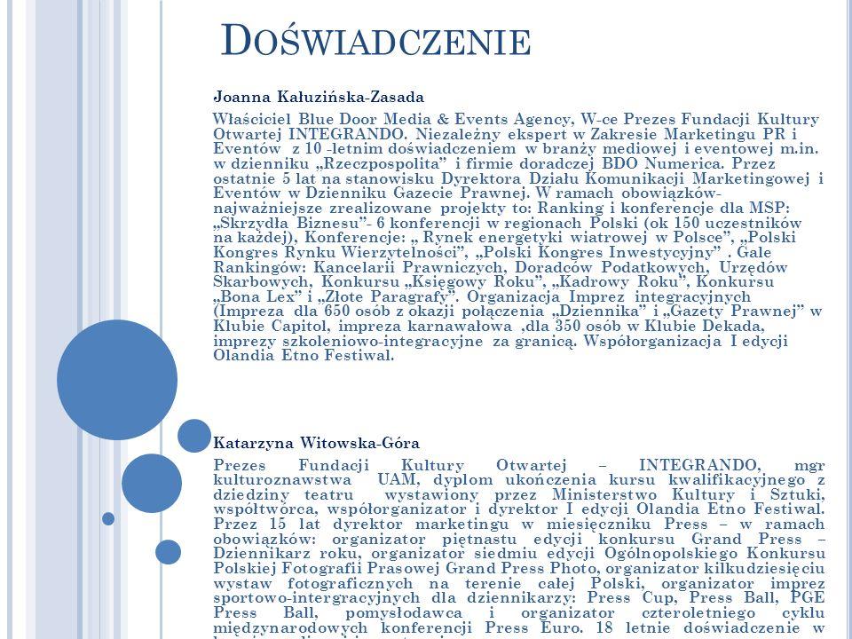D OŚWIADCZENIE Joanna Kałuzińska-Zasada Właściciel Blue Door Media & Events Agency, W-ce Prezes Fundacji Kultury Otwartej INTEGRANDO.