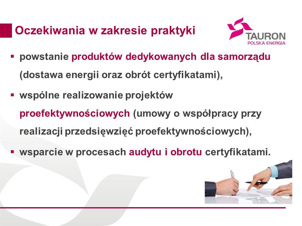 10 Oczekiwania w zakresie praktyki powstanie produktów dedykowanych dla samorządu (dostawa energii oraz obrót certyfikatami), wspólne realizowanie projektów proefektywnościowych (umowy o współpracy przy realizacji przedsięwzięć proefektywnościowych), wsparcie w procesach audytu i obrotu certyfikatami.