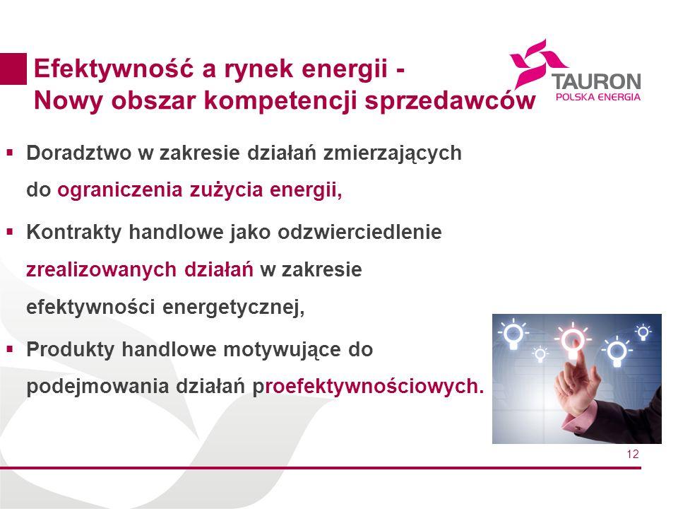 12 Efektywność a rynek energii - Nowy obszar kompetencji sprzedawców Doradztwo w zakresie działań zmierzających do ograniczenia zużycia energii, Kontrakty handlowe jako odzwierciedlenie zrealizowanych działań w zakresie efektywności energetycznej, Produkty handlowe motywujące do podejmowania działań proefektywnościowych.