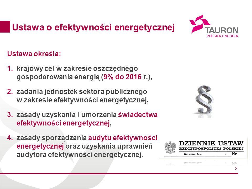 3 Ustawa określa: 1.krajowy cel w zakresie oszczędnego gospodarowania energią (9% do 2016 r.), 2.zadania jednostek sektora publicznego w zakresie efektywności energetycznej, 3.zasady uzyskania i umorzenia świadectwa efektywności energetycznej, 4.zasady sporządzania audytu efektywności energetycznej oraz uzyskania uprawnień audytora efektywności energetycznej.