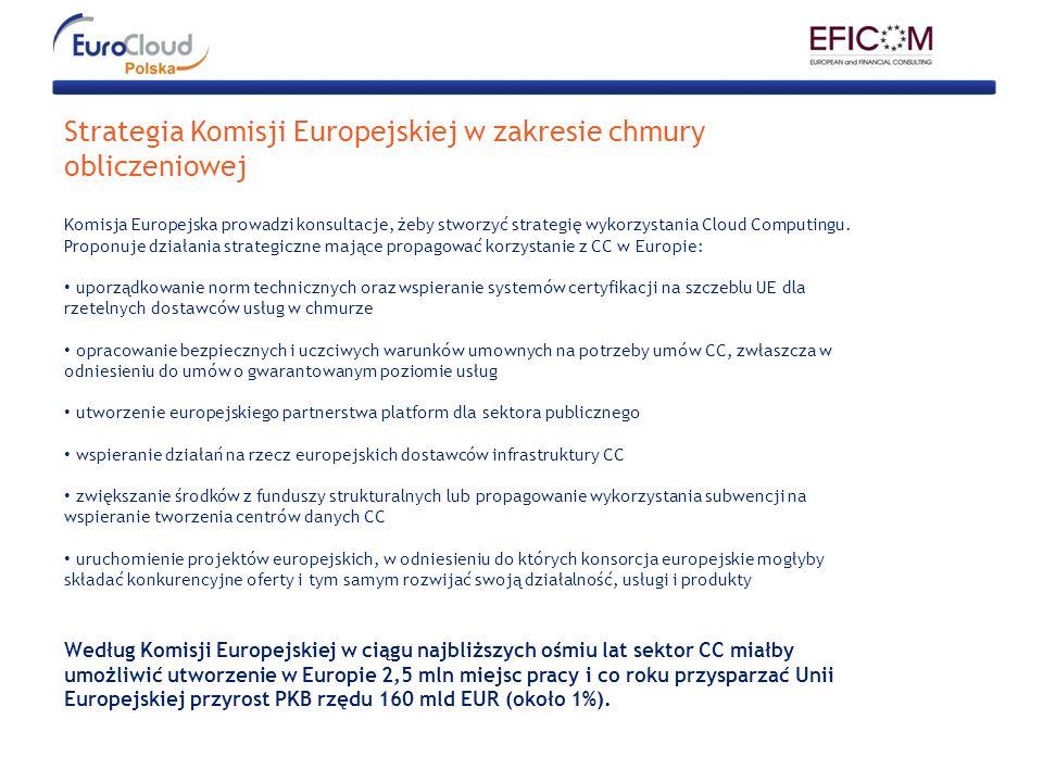 Strategia Komisji Europejskiej w zakresie chmury obliczeniowej Komisja Europejska prowadzi konsultacje, żeby stworzyć strategię wykorzystania Cloud Co