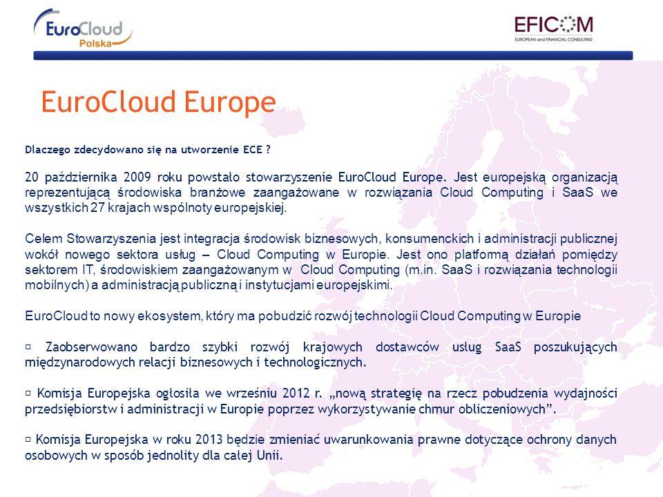 EuroCloud Europe Dlaczego zdecydowano się na utworzenie ECE ? 20 października 2009 roku powstało stowarzyszenie EuroCloud Europe. J est europejską org