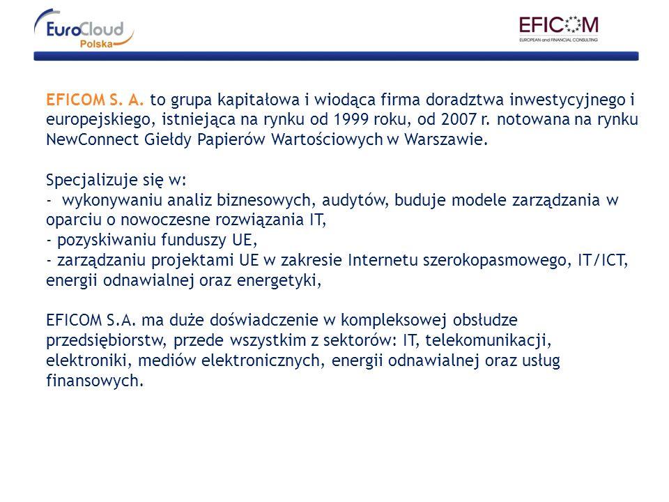 EFICOM S. A. to grupa kapitałowa i wiodąca firma doradztwa inwestycyjnego i europejskiego, istniejąca na rynku od 1999 roku, od 2007 r. notowana na ry