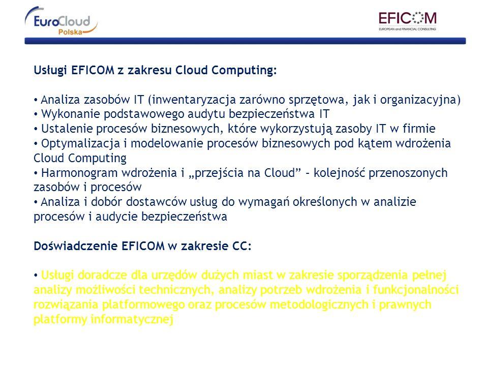 Usługi EFICOM z zakresu Cloud Computing: Analiza zasobów IT (inwentaryzacja zarówno sprzętowa, jak i organizacyjna) Wykonanie podstawowego audytu bezp