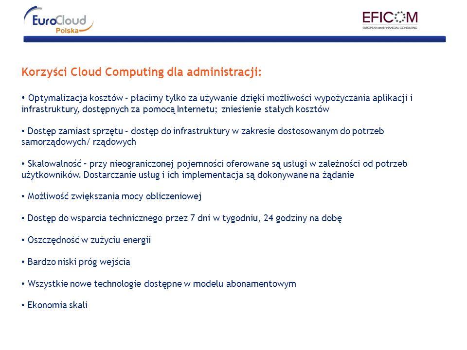 Korzyści Cloud Computing dla administracji: Optymalizacja kosztów – płacimy tylko za używanie dzięki możliwości wypożyczania aplikacji i infrastruktur