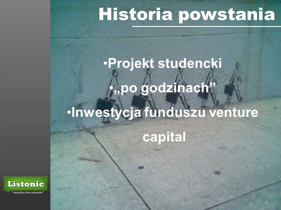 Historia powstania Projekt studencki po godzinach Inwestycja funduszu venture capital