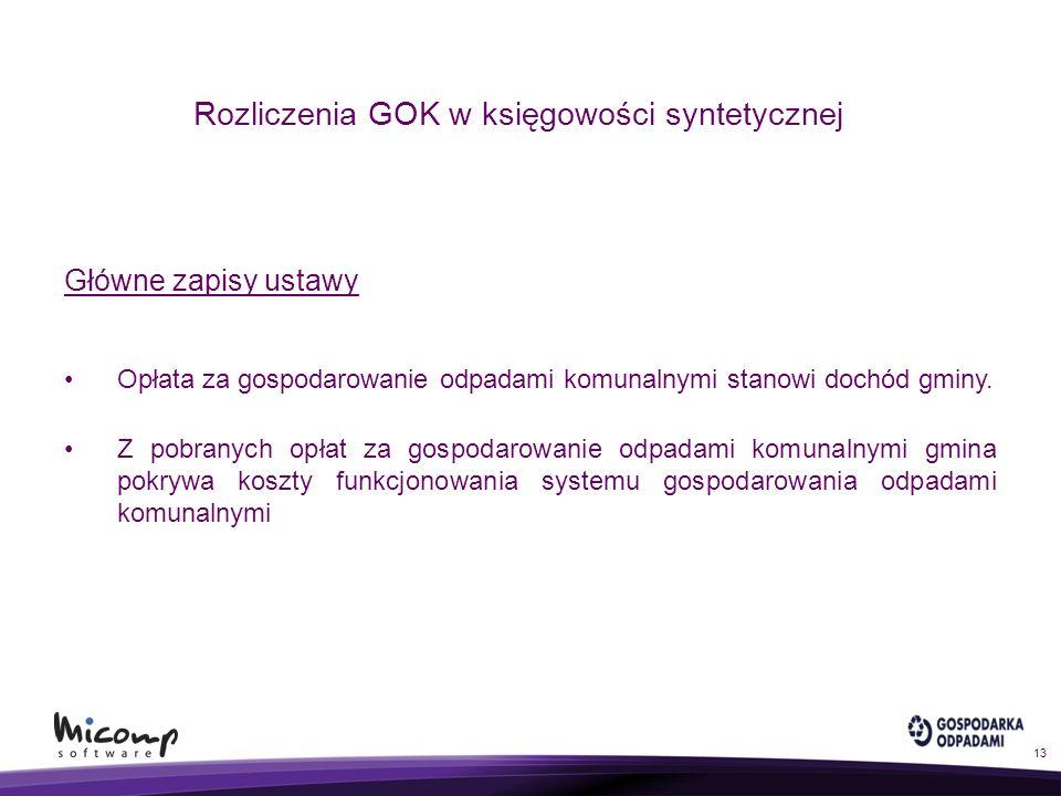 Rozliczenia GOK w księgowości syntetycznej Główne zapisy ustawy Opłata za gospodarowanie odpadami komunalnymi stanowi dochód gminy. Z pobranych opłat