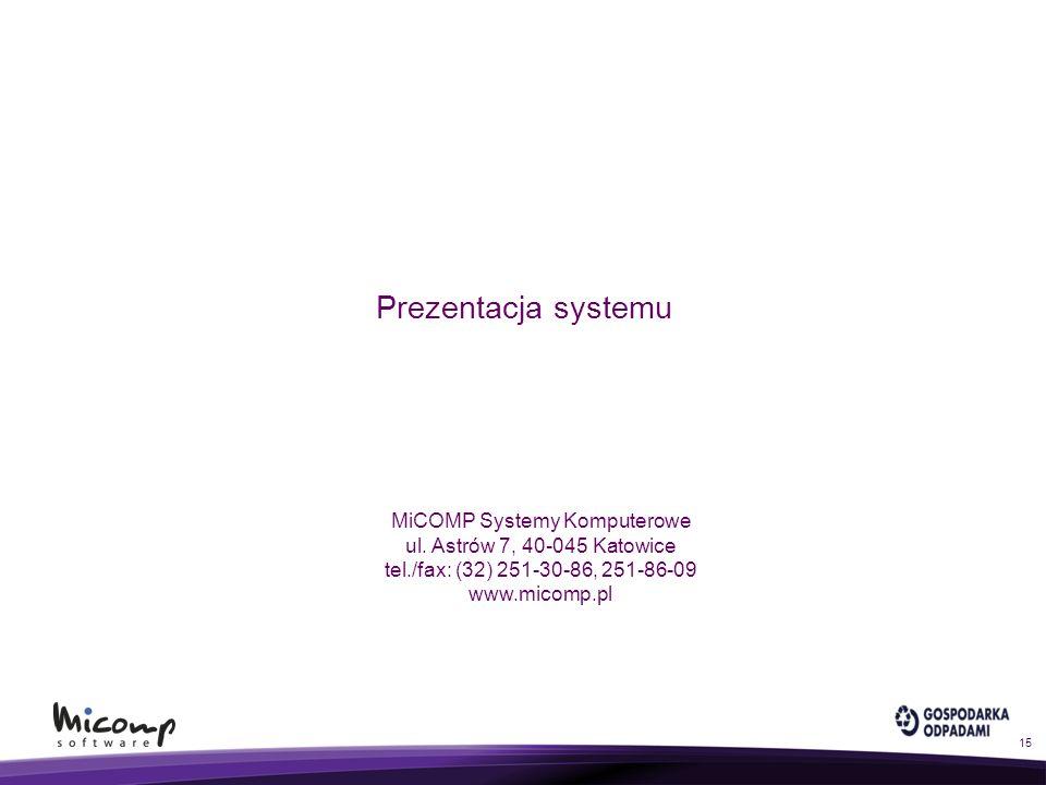 Prezentacja systemu 15 MiCOMP Systemy Komputerowe ul. Astrów 7, 40-045 Katowice tel./fax: (32) 251-30-86, 251-86-09 www.micomp.pl