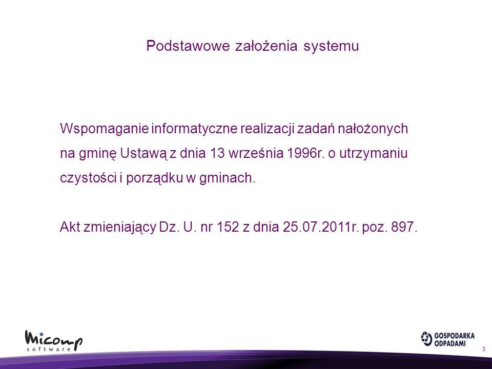 Podstawowe założenia systemu Wspomaganie informatyczne realizacji zadań nałożonych na gminę Ustawą z dnia 13 września 1996r. o utrzymaniu czystości i