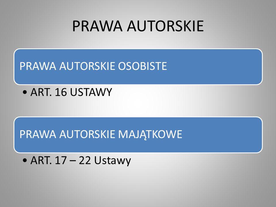 PRAWA AUTORSKIE PRAWA AUTORSKIE OSOBISTE ART.16 USTAWY PRAWA AUTORSKIE MAJĄTKOWE ART.