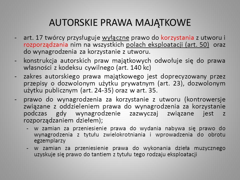 AUTORSKIE PRAWA MAJĄTKOWE -art.