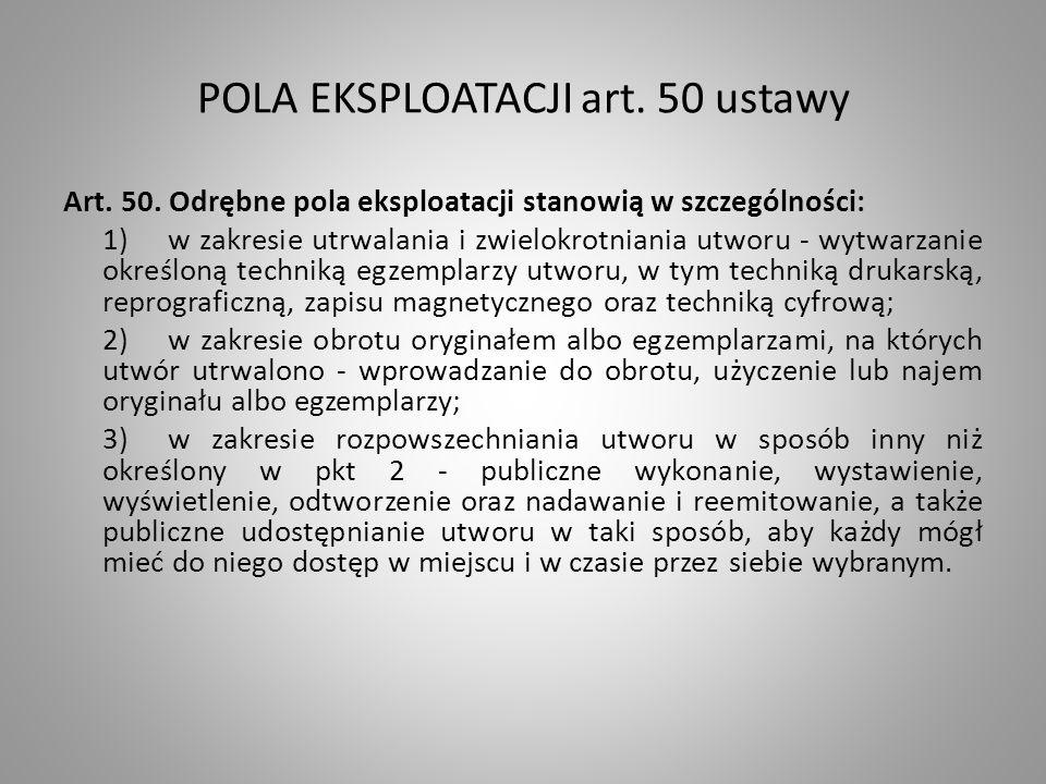 POLA EKSPLOATACJI art.50 ustawy Art. 50.