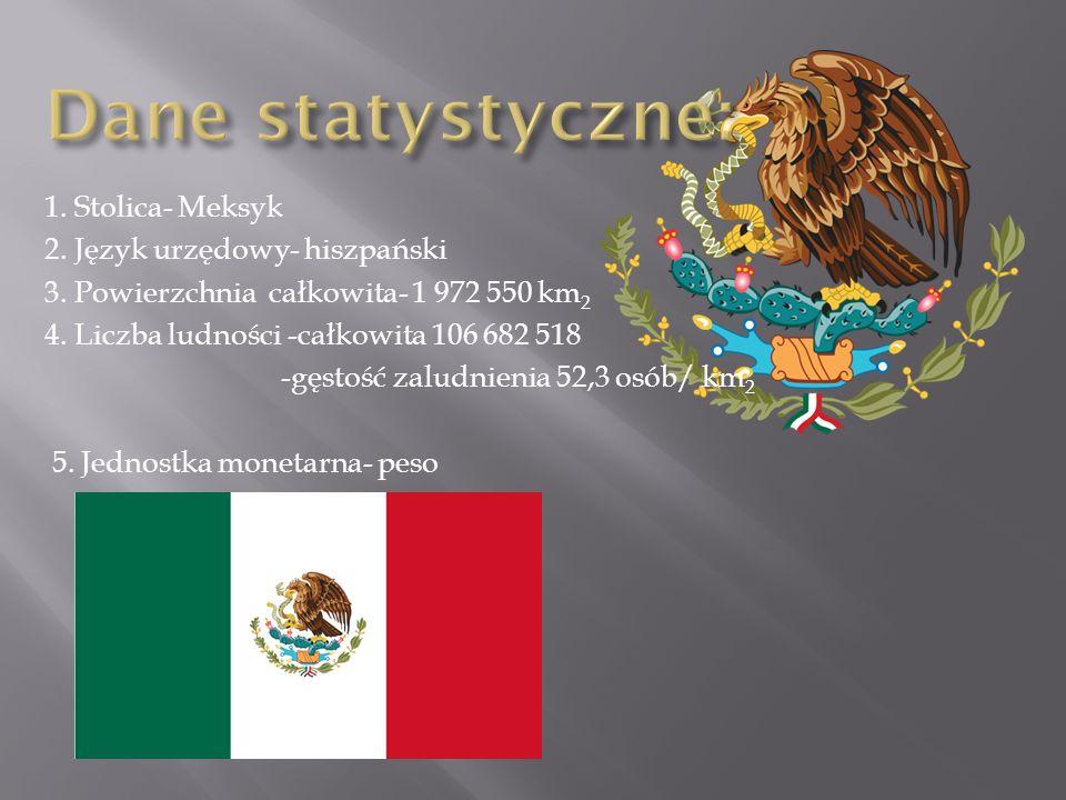1. Stolica- Meksyk 2. Język urzędowy- hiszpański 3. Powierzchnia całkowita- 1 972 550 km 2 4. Liczba ludności -całkowita 106 682 518 -gęstość zaludnie