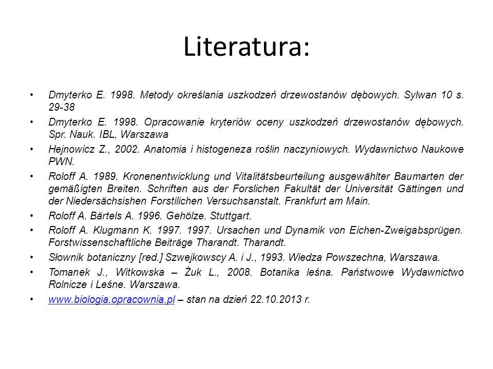 Literatura: Dmyterko E. 1998. Metody określania uszkodzeń drzewostanów dębowych. Sylwan 10 s. 29-38 Dmyterko E. 1998. Opracowanie kryteriów oceny uszk