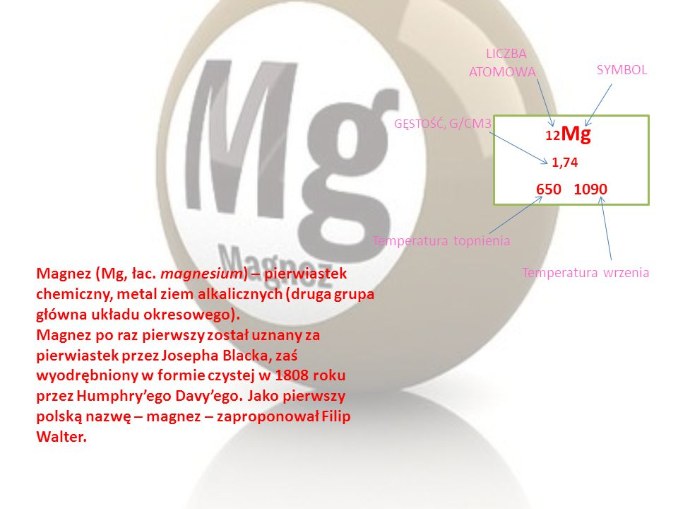 Magnez (Mg, łac. magnesium) – pierwiastek chemiczny, metal ziem alkalicznych (druga grupa główna układu okresowego). Magnez po raz pierwszy został uzn