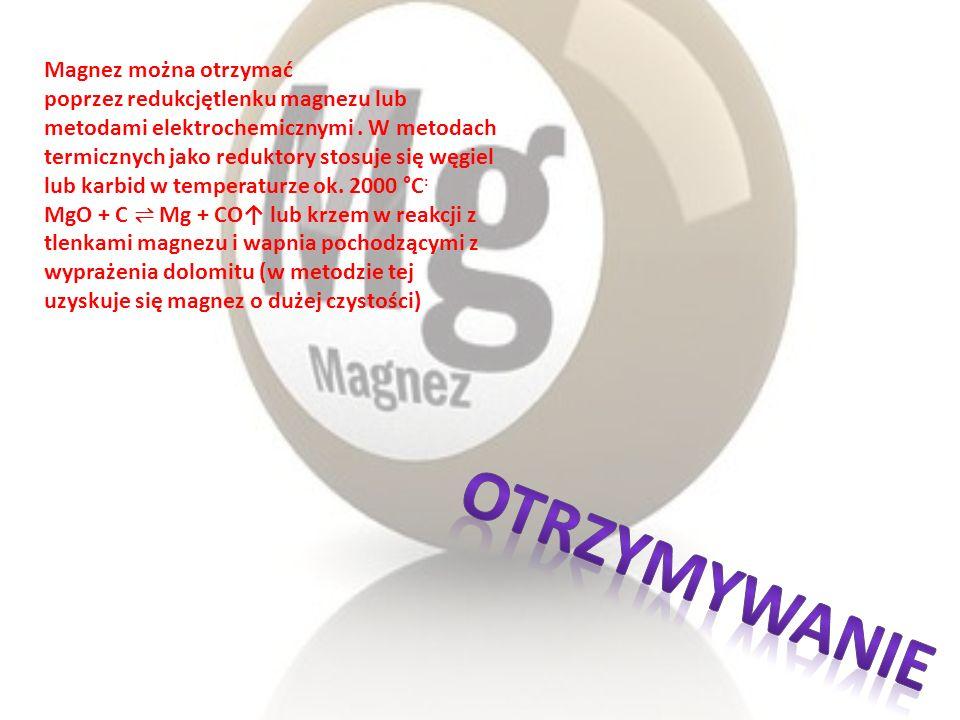 Magnez można otrzymać poprzez redukcjętlenku magnezu lub metodami elektrochemicznymi. W metodach termicznych jako reduktory stosuje się węgiel lub kar