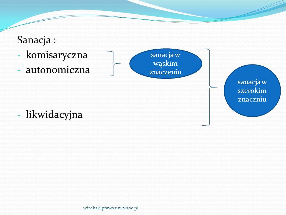 Sanacja : - komisaryczna - autonomiczna - likwidacyjna witeks@prawo.uni.wroc.pl sanacja w wąskim znaczeniu sanacja w szerokim znaczniu