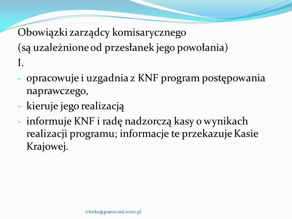 Obowiązki zarządcy komisarycznego (są uzależnione od przesłanek jego powołania) I. - opracowuje i uzgadnia z KNF program postępowania naprawczego, - k