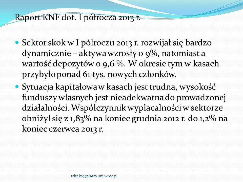Raport KNF dot. I półrocza 2013 r. Sektor skok w I półroczu 2013 r. rozwijał się bardzo dynamicznie – aktywa wzrosły o 9%, natomiast a wartość depozyt