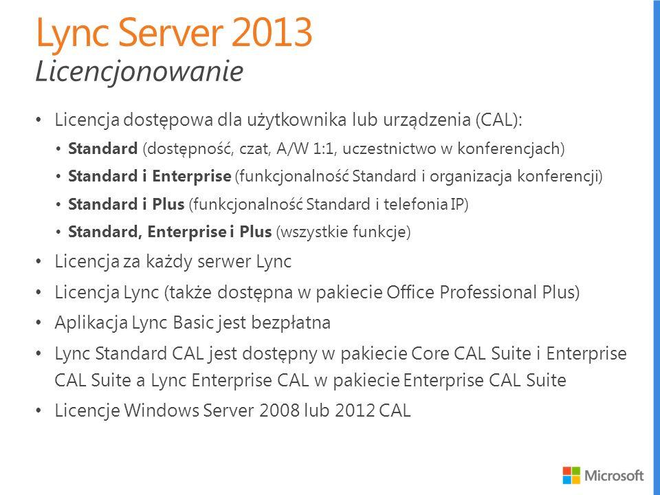 Licencja dostępowa dla użytkownika lub urządzenia (CAL): Standard (dostępność, czat, A/W 1:1, uczestnictwo w konferencjach) Standard i Enterprise (fun