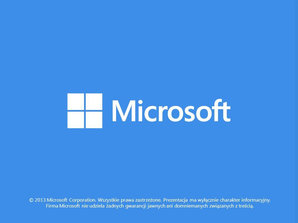 © 2013 Microsoft Corporation. Wszystkie prawa zastrzeżone. Prezentacja ma wyłącznie charakter informacyjny. Firma Microsoft nie udziela żadnych gwaran