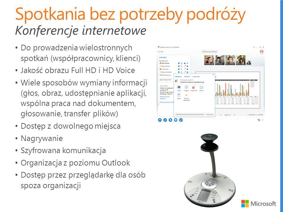 Do prowadzenia wielostronnych spotkań (współpracownicy, klienci) Jakość obrazu Full HD i HD Voice Wiele sposobów wymiany informacji (głos, obraz, udos