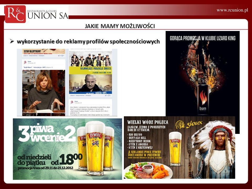 JAKIE MAMY MOŻLIWOŚCI wykorzystanie do reklamy profilów społecznościowych wykorzystanie do reklamy profilów społecznościowych