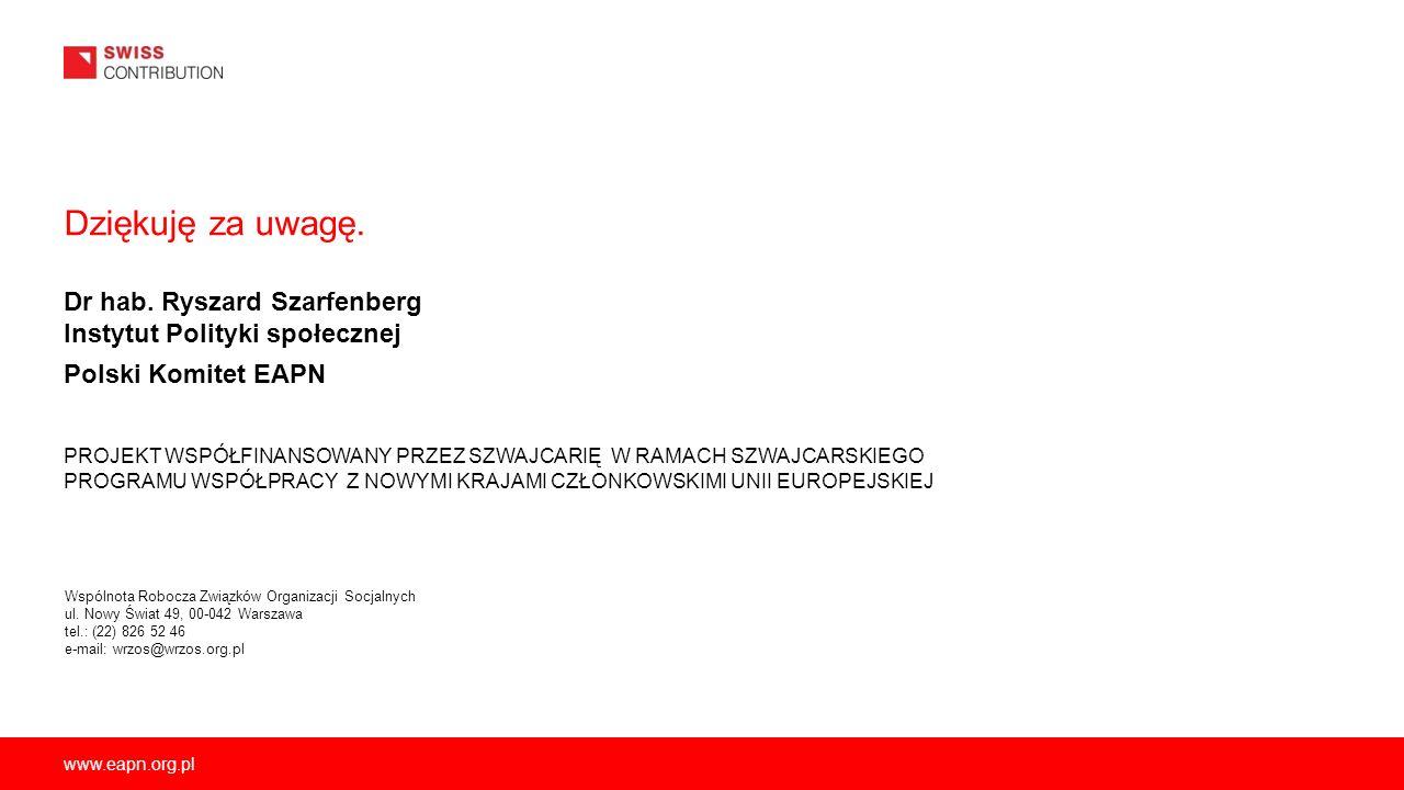 www.eapn.org.pl Dziękuję za uwagę. Dr hab. Ryszard Szarfenberg Instytut Polityki społecznej Polski Komitet EAPN PROJEKT WSPÓŁFINANSOWANY PRZEZ SZWAJCA