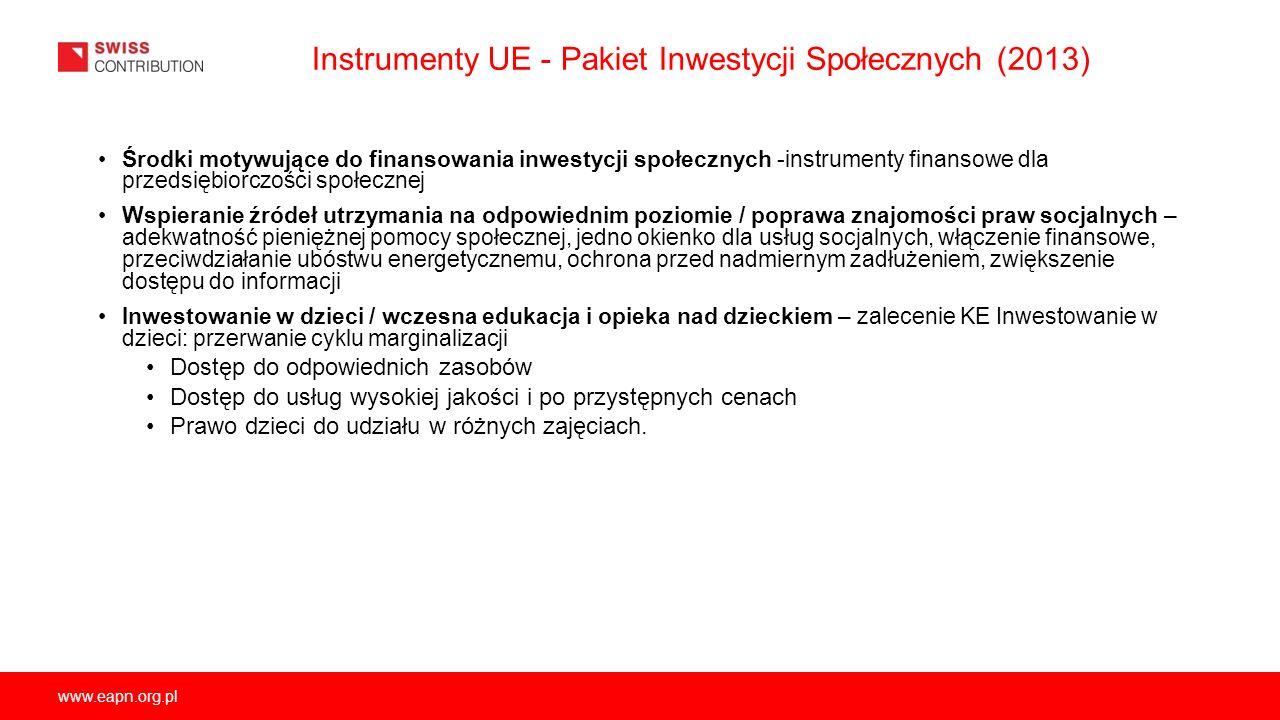 www.eapn.org.pl Instrumenty UE - Pakiet Inwestycji Społecznych (2013) Środki motywujące do finansowania inwestycji społecznych -instrumenty finansowe