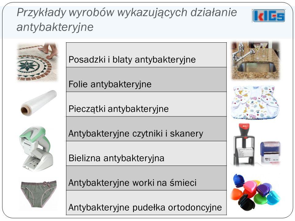 Przykłady wyrobów wykazujących działanie antybakteryjne Posadzki i blaty antybakteryjne Folie antybakteryjne Pieczątki antybakteryjne Antybakteryjne czytniki i skanery Bielizna antybakteryjna Antybakteryjne worki na śmieci Antybakteryjne pudełka ortodoncyjne