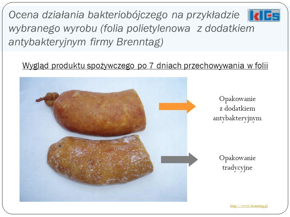 Ocena działania bakteriobójczego na przykładzie wybranego wyrobu (folia polietylenowa z dodatkiem antybakteryjnym firmy Brenntag) Wygląd produktu spożywczego po 7 dniach przechowywania w folii Opakowanie tradycyjne Opakowanie z dodatkiem antybakteryjnym http://www.brenntag.pl