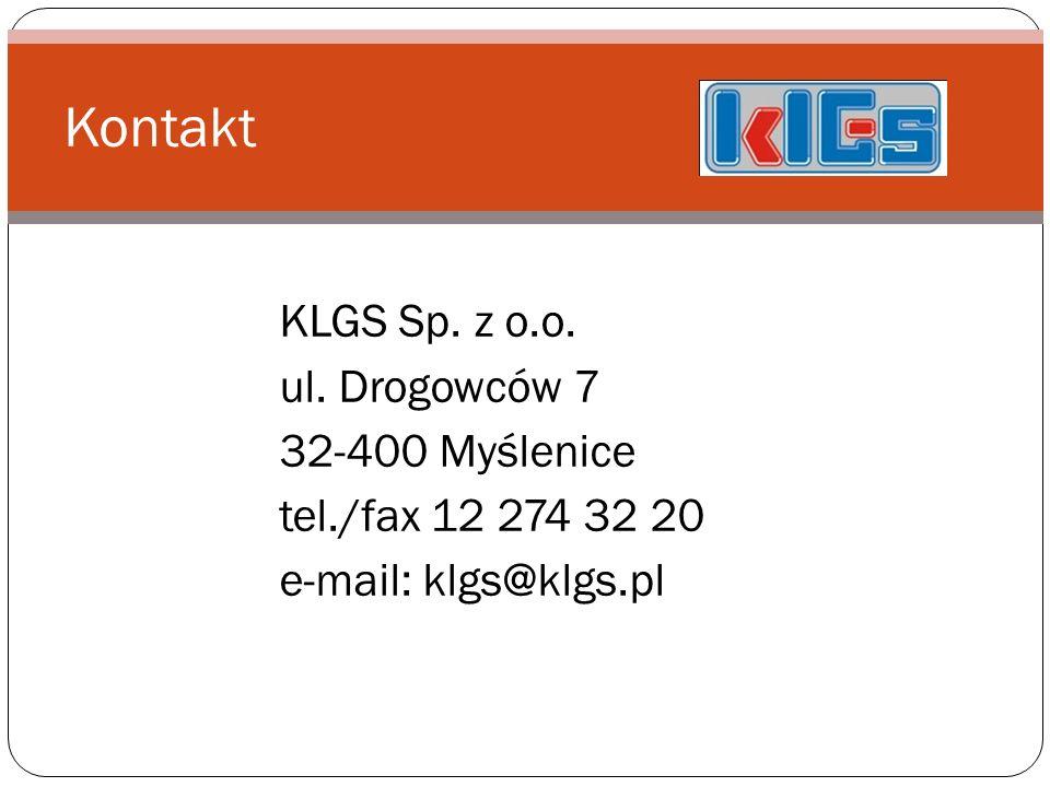 KLGS Sp. z o.o. ul. Drogowców 7 32-400 Myślenice tel./fax 12 274 32 20 e-mail: klgs@klgs.pl Kontakt