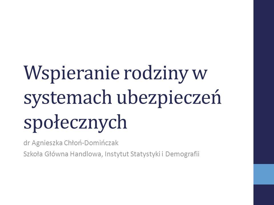 Wspieranie rodziny w systemach ubezpieczeń społecznych dr Agnieszka Chłoń-Domińczak Szkoła Główna Handlowa, Instytut Statystyki i Demografii