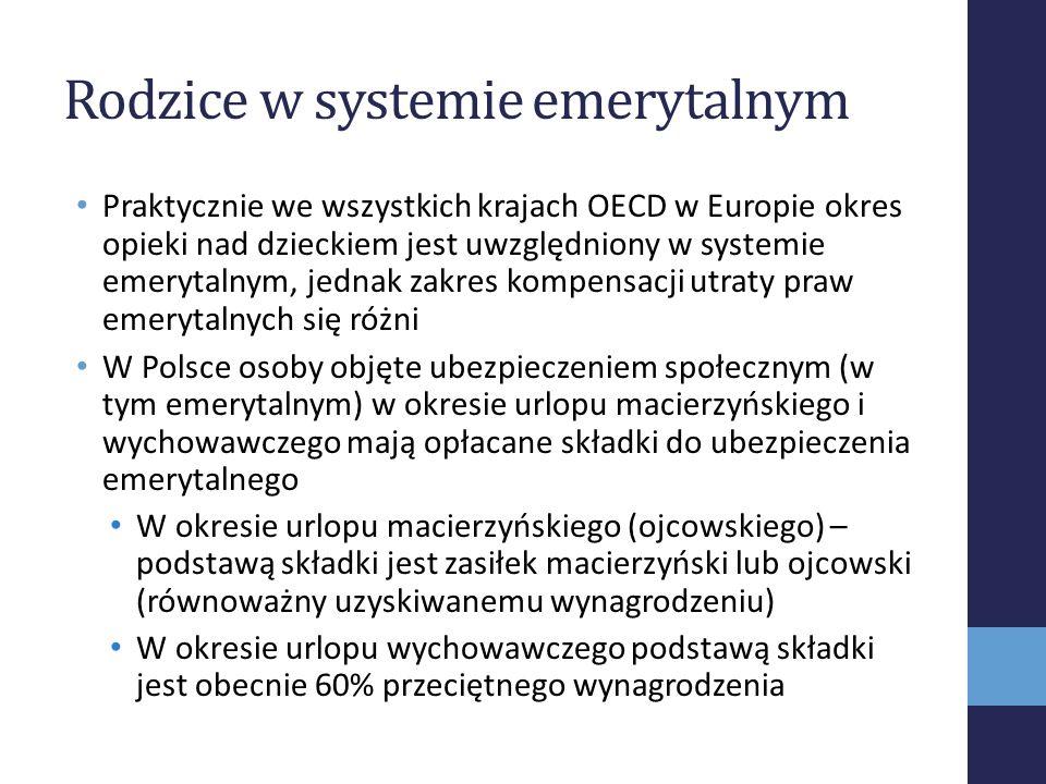Rodzice w systemie emerytalnym Praktycznie we wszystkich krajach OECD w Europie okres opieki nad dzieckiem jest uwzględniony w systemie emerytalnym, j