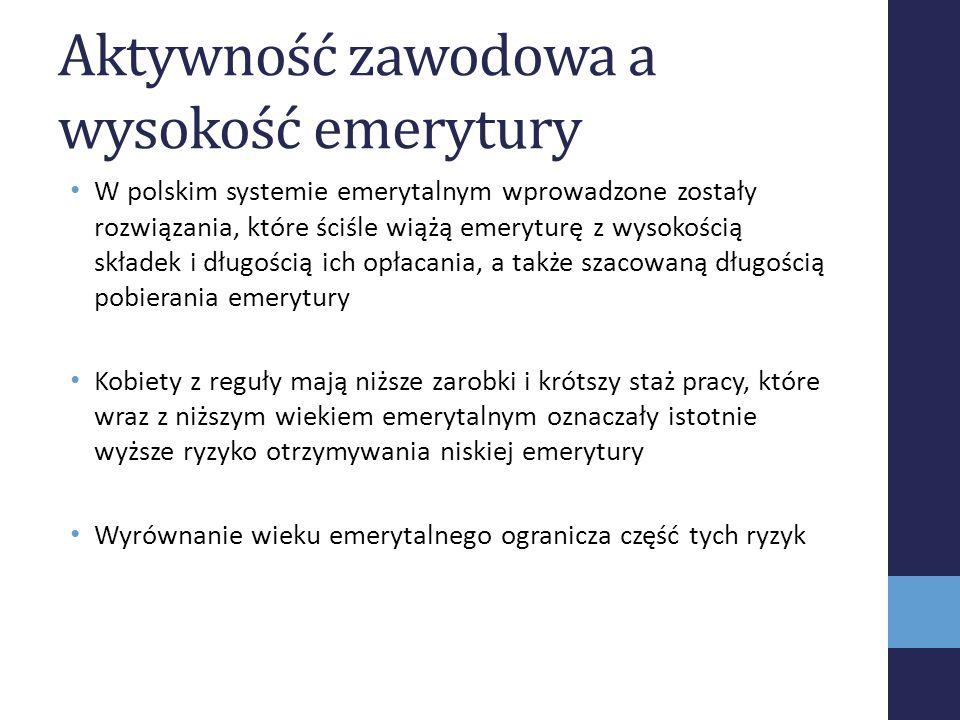 Aktywność zawodowa a wysokość emerytury W polskim systemie emerytalnym wprowadzone zostały rozwiązania, które ściśle wiążą emeryturę z wysokością skła