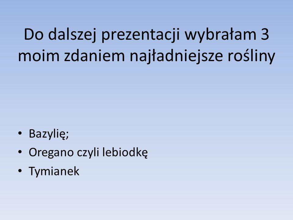 Do dalszej prezentacji wybrałam 3 moim zdaniem najładniejsze rośliny Bazylię; Oregano czyli lebiodkę Tymianek