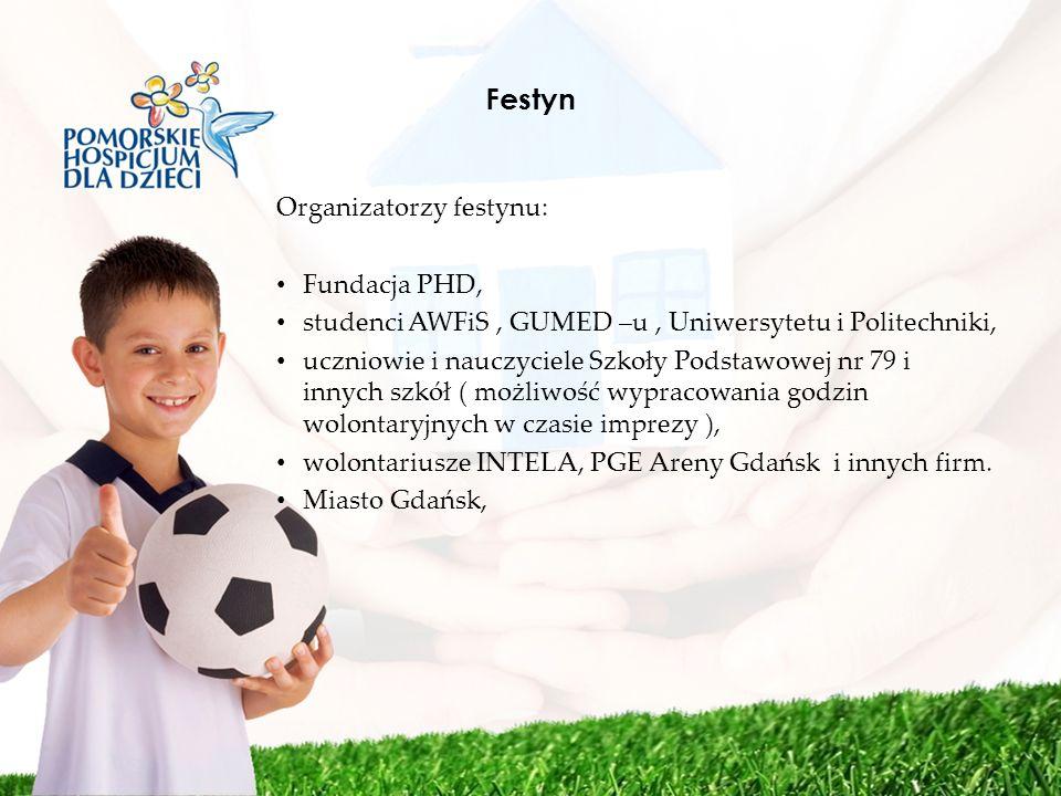 Festyn Organizatorzy festynu: Fundacja PHD, studenci AWFiS, GUMED –u, Uniwersytetu i Politechniki, uczniowie i nauczyciele Szkoły Podstawowej nr 79 i