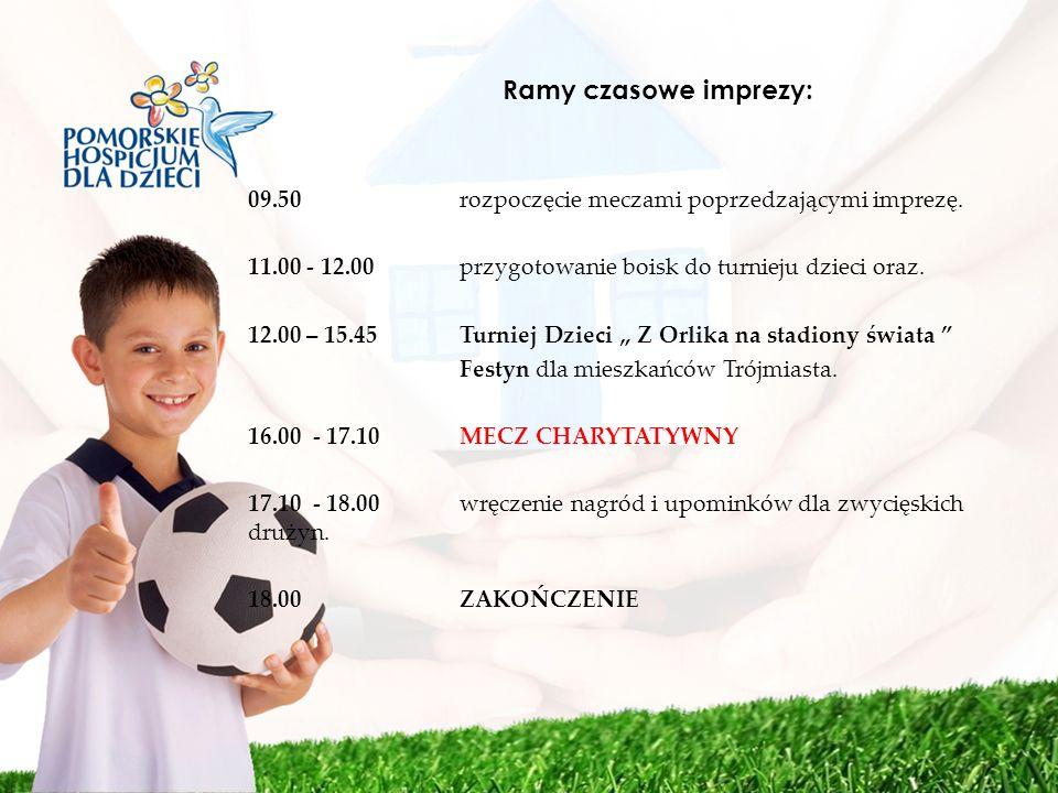 Ramy czasowe imprezy: 09.50 rozpoczęcie meczami poprzedzającymi imprezę. 11.00 - 12.00 przygotowanie boisk do turnieju dzieci oraz. 12.00 – 15.45 Turn