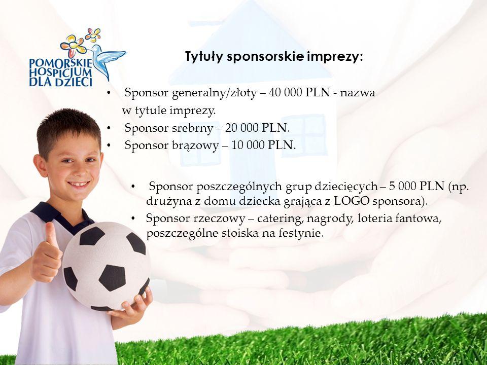 Tytuły sponsorskie imprezy: Sponsor generalny/złoty – 40 000 PLN - nazwa w tytule imprezy. Sponsor srebrny – 20 000 PLN. Sponsor brązowy – 10 000 PLN.