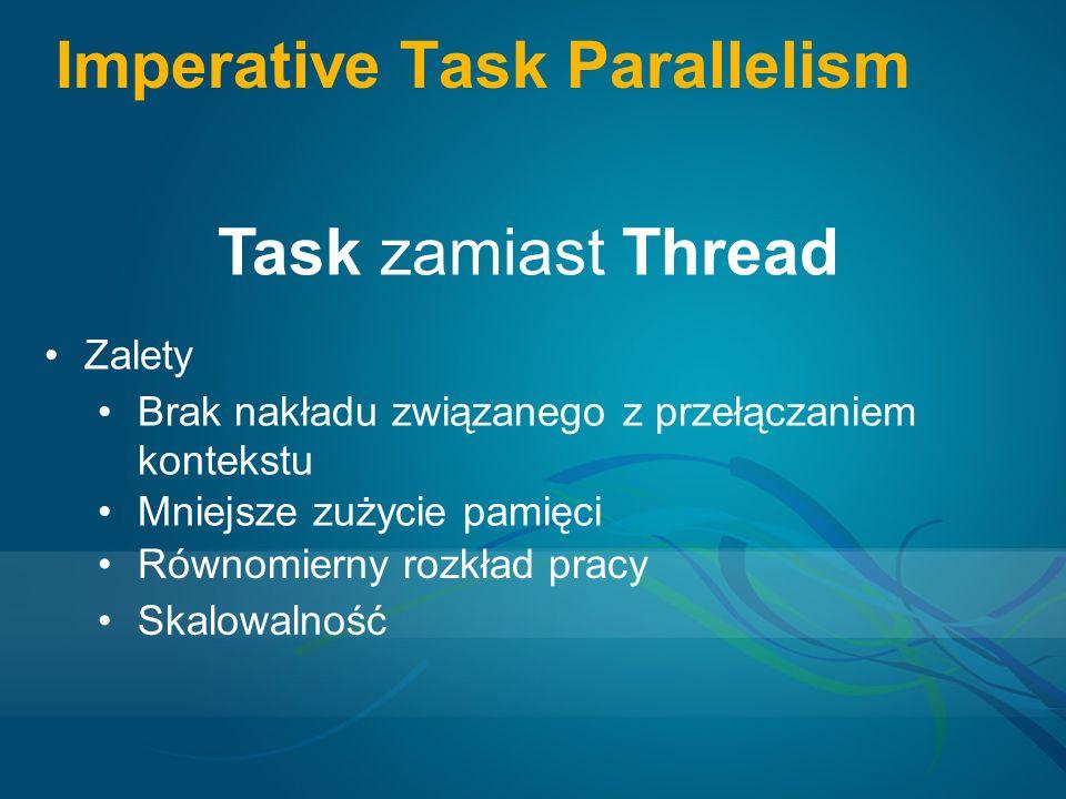 Imperative Task Parallelism Task zamiast Thread Zalety Brak nakładu związanego z przełączaniem kontekstu Mniejsze zużycie pamięci Równomierny rozkład pracy Skalowalność